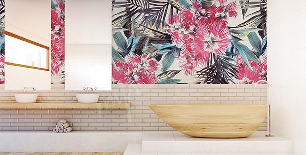 carta da parati floreale bagno